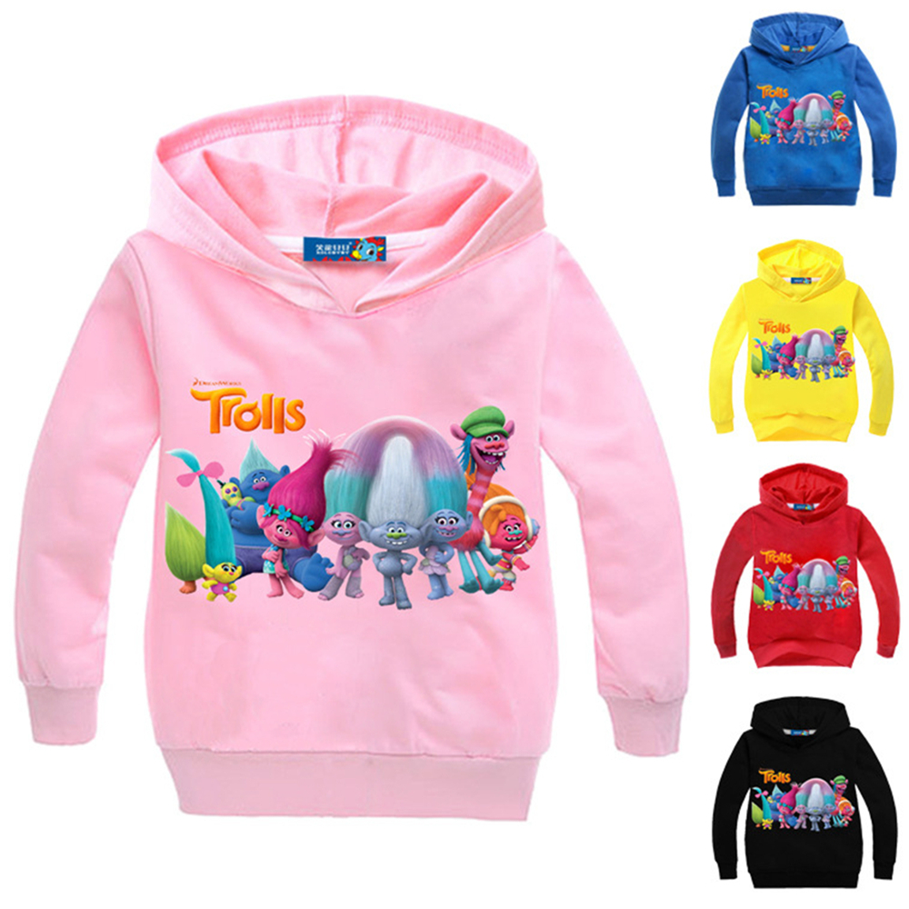 Hot Autumn Kids Good Luck Trolls Hoodies Jackets Boys Cotton Lovely Pattern Clothing for Girls Teenager Full Sleeved Outerwears