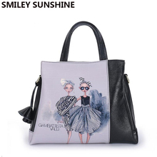 Hohe Qualität Echtes Leder Damentaschen 2017 Luxus Weiblichen Beutel Schwarze Frauen Leder Handtasche Mode Damen Big Tote Handtaschen
