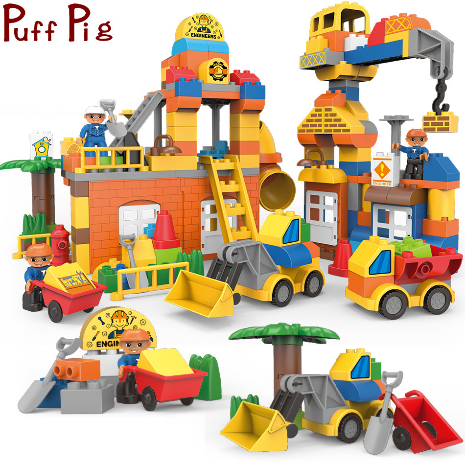 все цены на Creative DIY Big Building Blocks City Construction Engineer Bulldozer Truck Figure Compatible Legoed Duploe Toys For Children онлайн