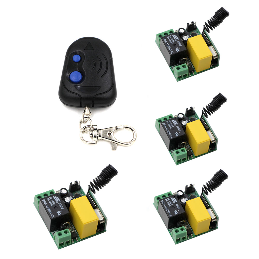 (5pcs/set) 4pcs Mini Receivers AC220V 1CH RF Wireless Remote Control Light Switch System With 1pcs Remote Controller 315/433 MHZ ac220v rf wireless remote control light lamp switch system 1receiver