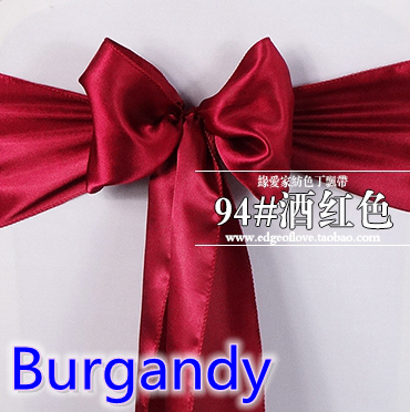 Burgandy Colour Satin Sash Chair Sash Wedding Decoration Bow Tie Chair Band Party Hotel Show Decoration Sash Shiny Colour