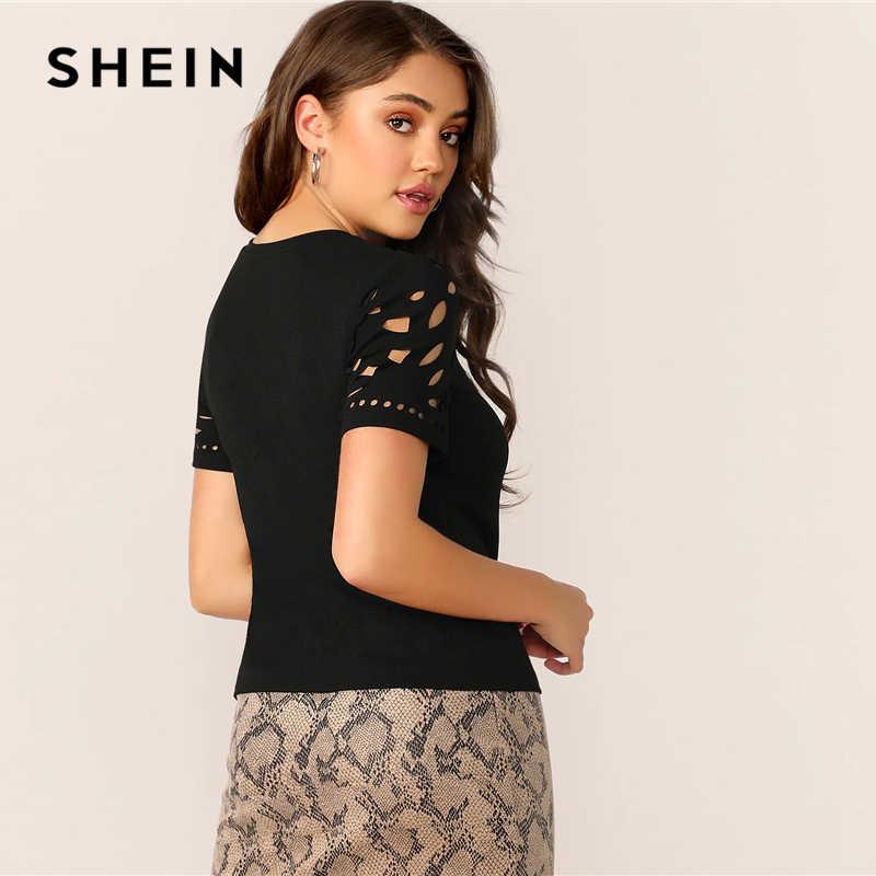 SHEIN elegancka czarna laserowo wycinana forma dopasowanie Tee solidna T koszula kobiety lato O-Neck drążą urząd Lady odzież robocza Tshirt topy