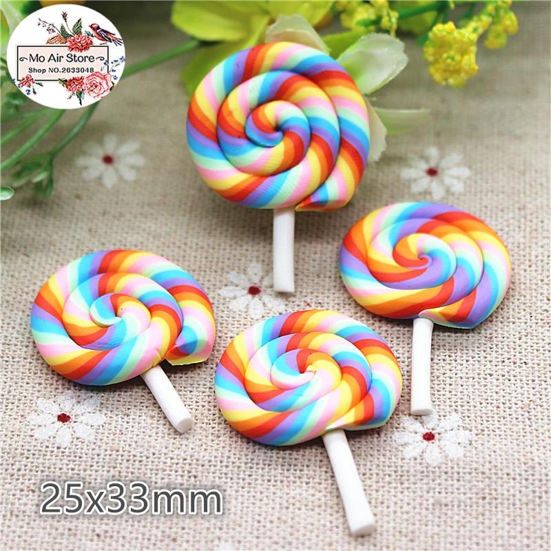 10PCS Polymer Clay Rainbow Hand Made Lollipop Flatback Cabochon Miniature Food Art Supply Decoden Charm Craft