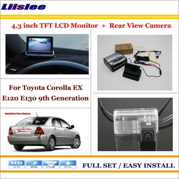 """Liislee For Toyota Corolla EX E120 E130 9th Generation Car Parking Camera + 4.3"""" LCD Monitor PAL = 2 in 1 Parking Rear System"""