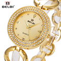 Belbi Marca de Lujo Mujer Reloj Pulsera Vestido de La Manera de Acero De Aleación De Cuarzo Relojes de Señoras Del Diamante Del Oro Relojes de Pulsera Elegante
