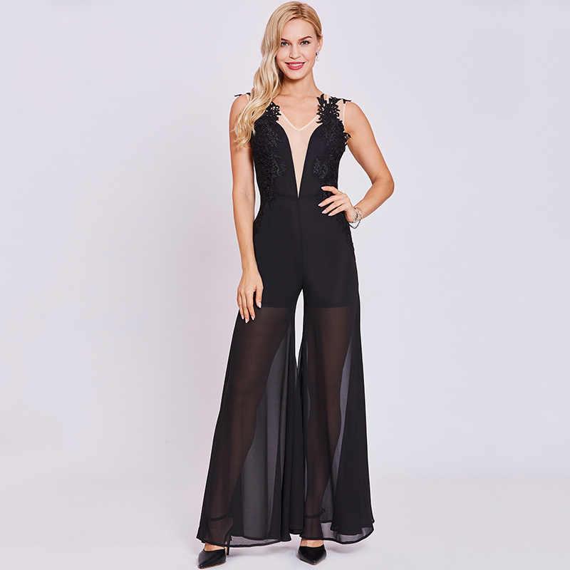 Tanpell комбинезон стиль вечернее платье ES черный без рукавов Аппликации Линия длина до пола платье Женские V шеи Формальное вечернее платье