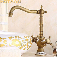 Free Shipping Basin Faucet Antique Brass Swivel Bathroom Basin Mixer BASIN Tap Crane YT 5043