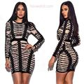 sexy women long sleeve dress bodysuit 2017 khaki black bandage dress bodycon fashion short dress cocktail party dresses vestido