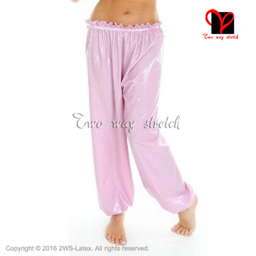 Pink Sexy Loose Latex pants front buttons bloomers Rubber Pants Gummi Trousers Long XXXL plus size KZ 124