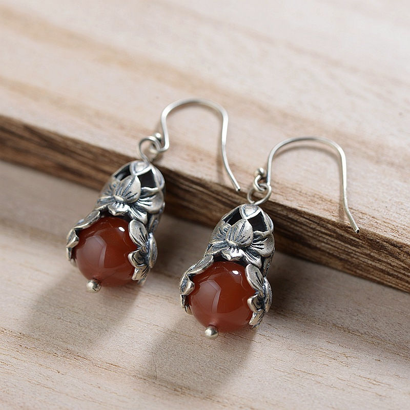 deer S925 silver matte process female handmade silver style restoring ancient ways south onyx silver earrings wholesale