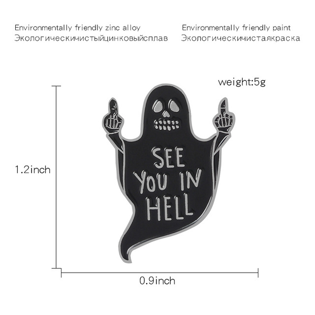Czarny duch środkowy palec Disdain gest Pins widzisz w piekle broszki odznaka Lapel torba na ubrania śmieszne gotyckie biżuteria punkowa prezent