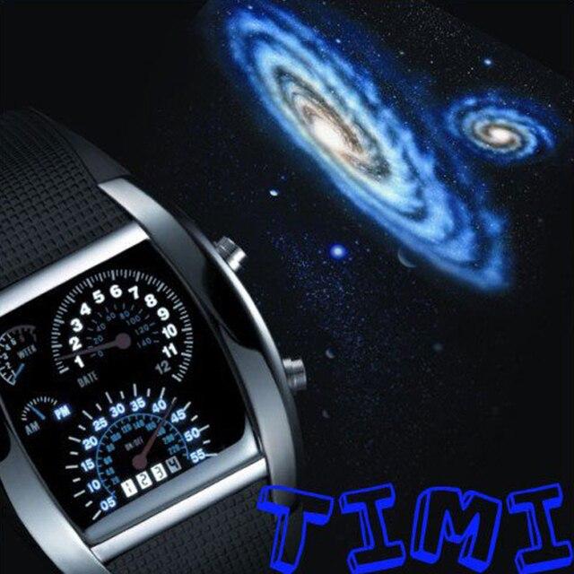 TVG NEW 7 Color Cool Fashion Design Car Blue LED Light Dot Matrix Mens WATCH dive C622