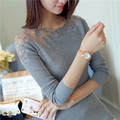 Women Pullovers 2017 Cashmere Sexy Lace Pullover Sweaters Fashion Patchwork Hollow Out Ruffled Collar Knitted Tops Pull Femme