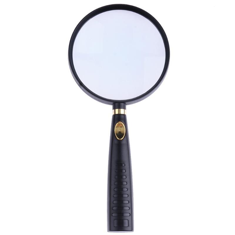 1 pièces 90mm 10X cadre Loupe de poche lentille en verre optique poignée en bois Loupe pour lecture carte journal bijoux Loupe