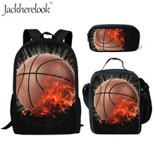 Jackherelook 3D Cool Basketball Printing Set School Bags for Teenager Boys Kids Bagpack Book Backpacks Men Schoolbag Rugzak