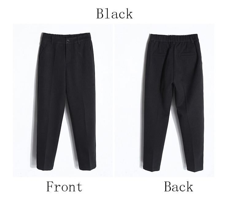 19 Autumn New Women Elastic Woolen Pant Female Plus Size Casual Trousers Black/Gray Harem Pants Winter Wool Ankle-Length Pants 42