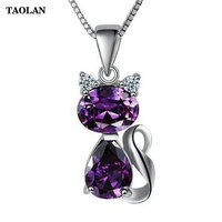 TAOLAN S925 Sterling Silver Necklace Cat Shpae Purple Zircon Pendant Necklace For Women Girl Fashion Jewelry
