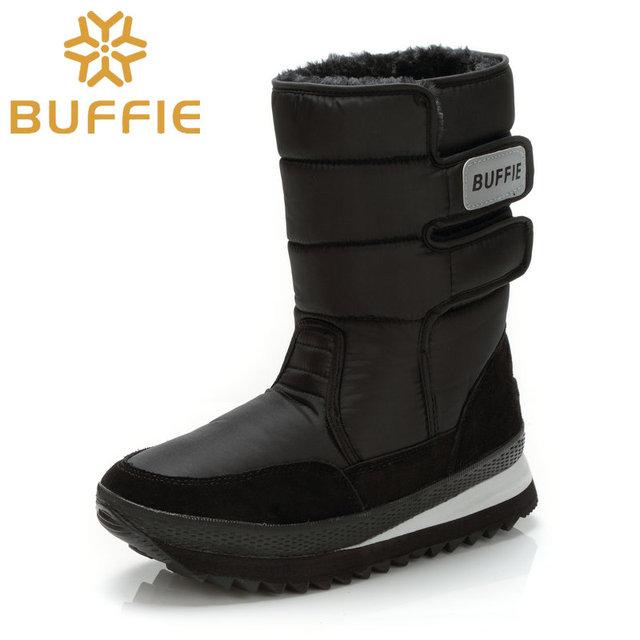 2016 otoño invierno zapatos media pantorrilla botas de nieve negro de felpa caliente zapatos de piel de invierno más tamaño 46 zapatos de marca mujer botas # wzb3