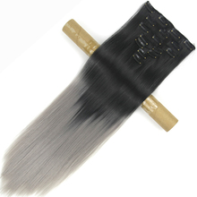 Soowee 24 inch Прямые Синтетические Шиньоны Высокой Температуры Термостойкие Волокна Черного к Серому Ombre Зажим в Выдвижении Волос