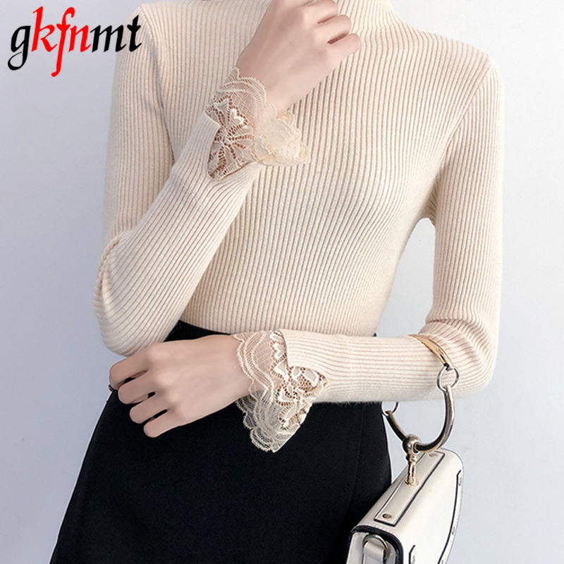 Knitted Sweater Pullovers Lace Long-Sleeve Autumn Winter Women Female High-Elastic And