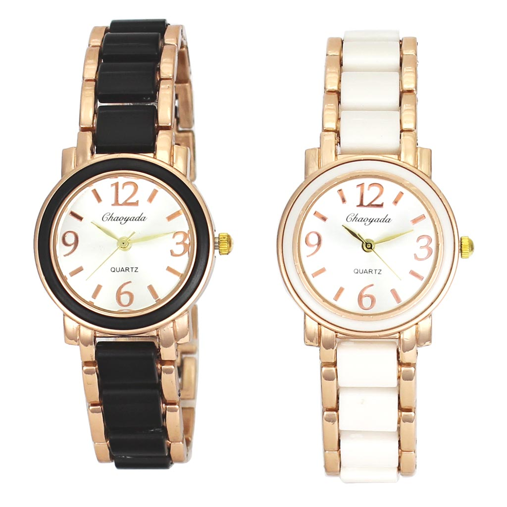 White Black 2 Color Bracelets Watches Women Stainless Steel Band Necklace Chain Charm Quartz Watch