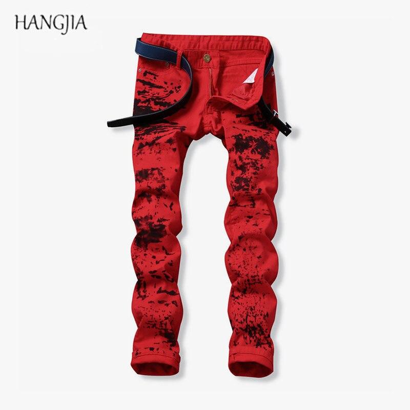Mens Red Washed Old Jeans Streetwear Slim Fit High Elasticity Print Distressed Denim Pants Europe America Hip-Hop Straight Jean