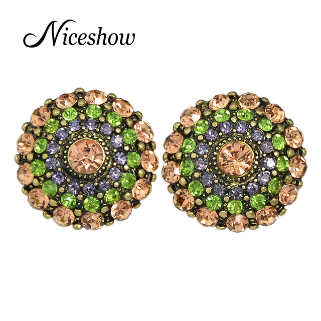Niceshow New 2016 Bijoux Brand Jewelry Colorful Rhinestone Round Cute Stud Earrings Women Accessories