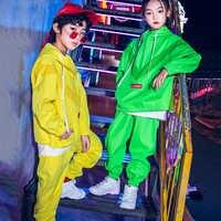 New Hip Hop Vestiti Per I Bambini/Ragazzo/Ragazza Neon Verde Vestito Lungo Del Manicotto di Danza di Strada Drumming Prestazioni Hiphop costume di ballo VDB243