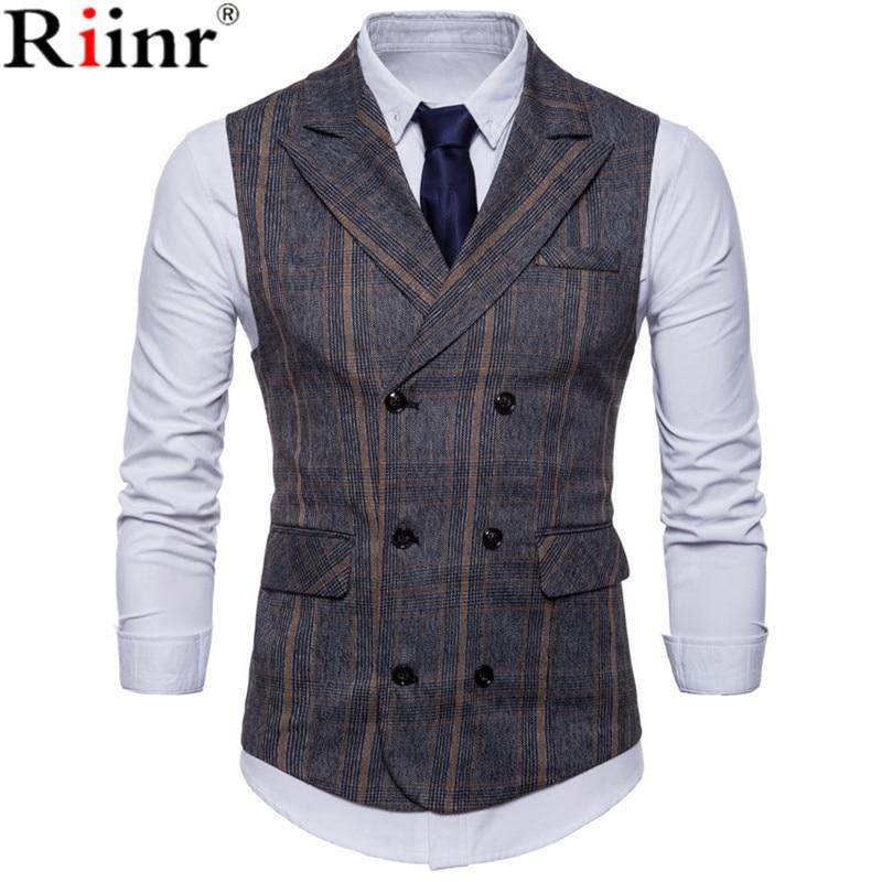 ainr Men Gentleman V Neck Sleeveless Plaid Suit Vest Waistcoats