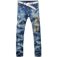2017 new vogue straight leg denims lengthy males male printed denim pants cool cotton designer good high quality model trousers MJB028