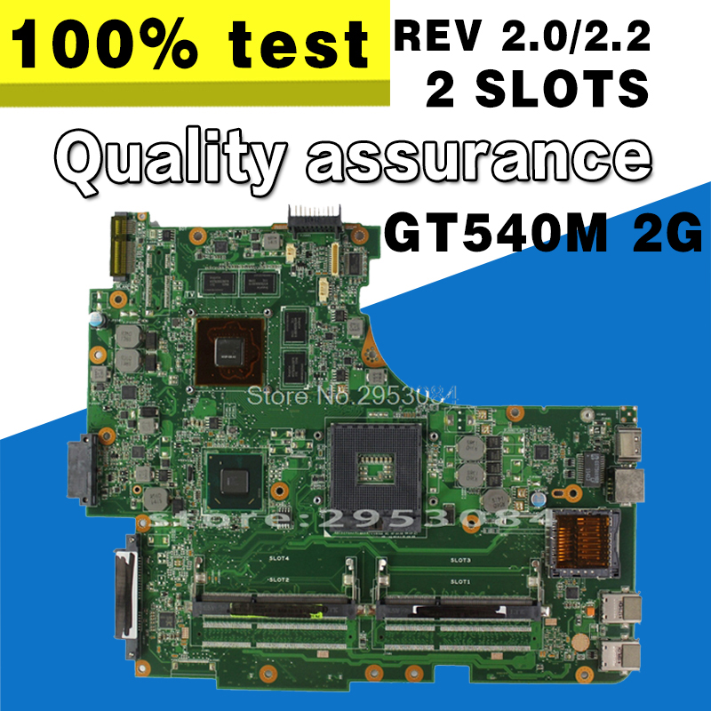 For Asus N53S N53SV Rev 2.2 2 Slots GT540M 2G USB3.0 2.0 N12P-GS-A1 HM65 PGA989 Laptop Motherboard 100% Fully Tested