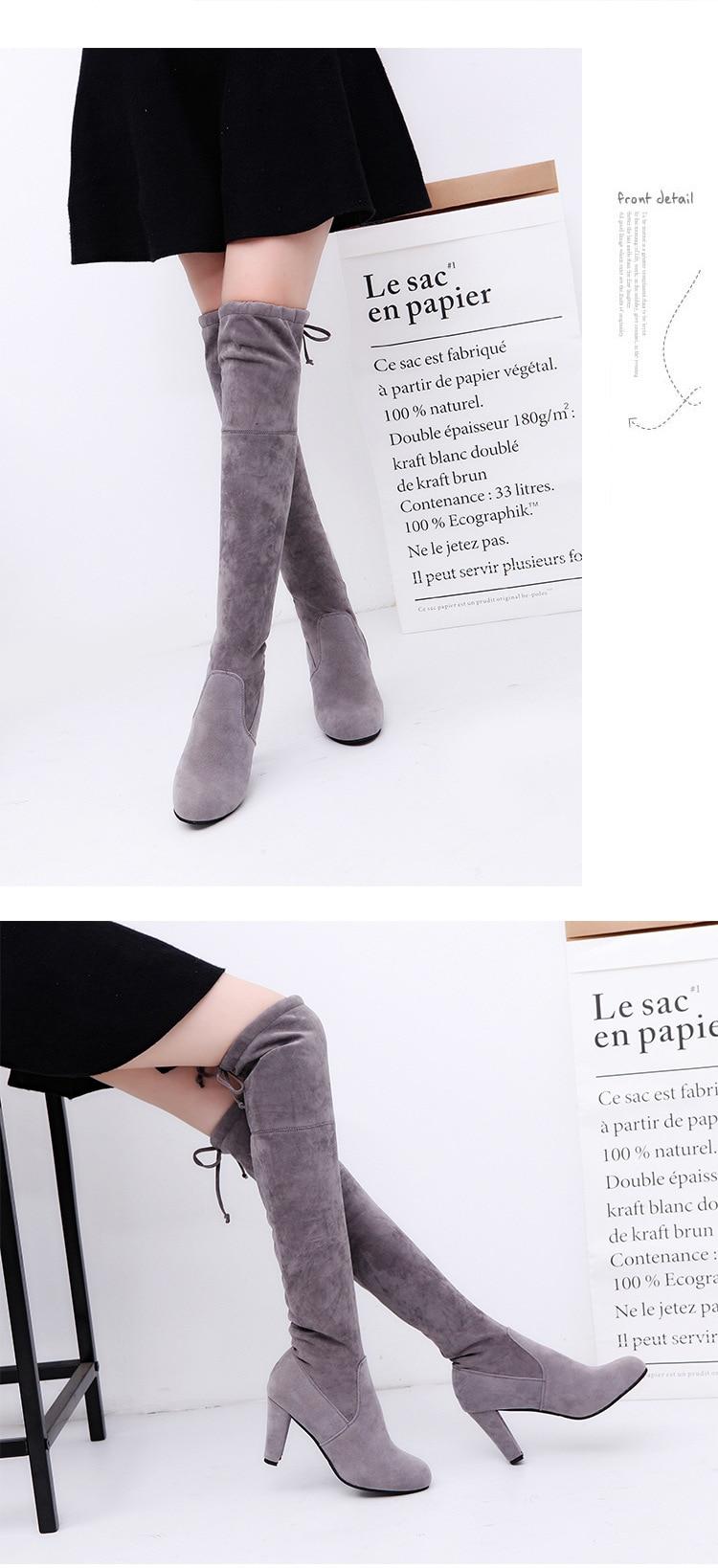 5e2da4ac9264 2019 Новый Облегающие сапоги из искусственной замши пикантные Сапоги выше  колена ...