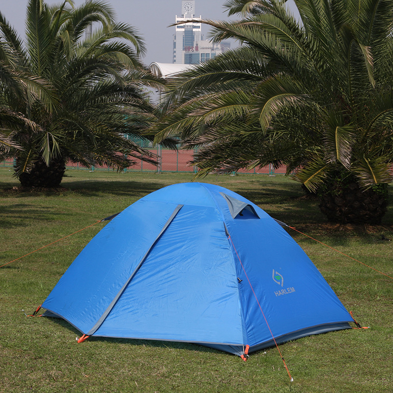Blue 2 Person Oxford Camping Tent Outdoor Double Layers Gazebo Tourist Tent Folding Beach Tent for Camping Hiking Fishing Party outdoor double layer 10 14 persons camping holiday arbor tent sun canopy canopy tent