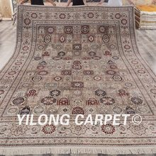 Yilong 10'x14′ Vantage Oriental silk rug handmade antique turkish silk large carpet (SCH012A10x14)