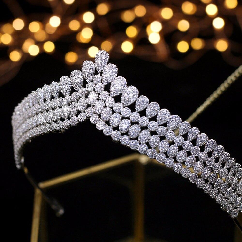 Asnora Completo CZ circon estilo princesa corona vintage tiare nupcial accesorios para el cabello noche accesorios de fiesta-in Bijoux pour cheveux from Bijoux et Accessoires    3