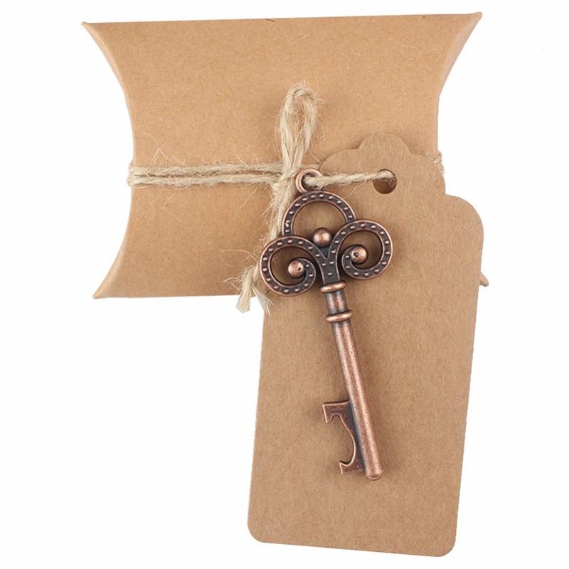 YHYS 20 ensembles boîte à bonbons artisanale avec clé décapsuleur étiquette carte boîte de papier pour faveurs de mariage cadeaux de fête fournitures de fête d'événement