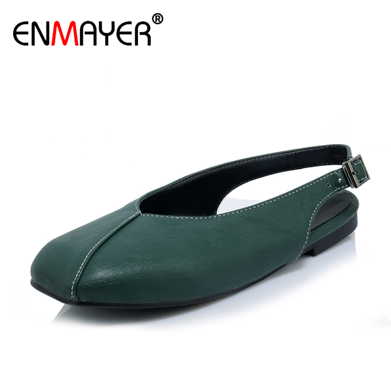 ENMAYER 2017 Fashion Women Loafers Slingback Buckle Black White Green Round Toe Plus Size 34-44 All-match Leisure Shoes Flats