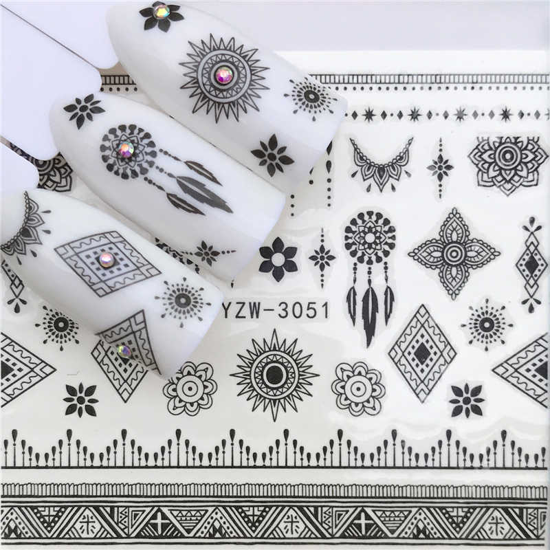 ZKO 25 Designs New Black Flower Lace Designs Nail Art Water Decals Transfer Nail Stickers Decoration Elegance Manicure Tool