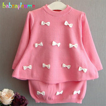 babzapleume Brand Autumn&Winter Toddler Girl Clothes Kids Pink Cute Tops+Skirt Two-Piece Fashion Party Children Clothing BC1048