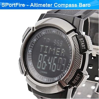 Outdoors Waterproof Digital Watch Air Pressure Barometer Thermometer Temperature Altimeter Gray Black - SPortFire Store Sports store