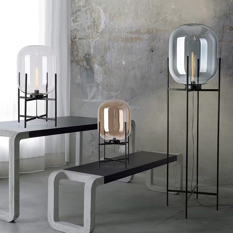 Nuovo stile Creativo semplice lampada da terra Cera forma di zucca paralume in vetro lampada in piedi nero di nuovo disegno della decorazione di arte di illuminazione