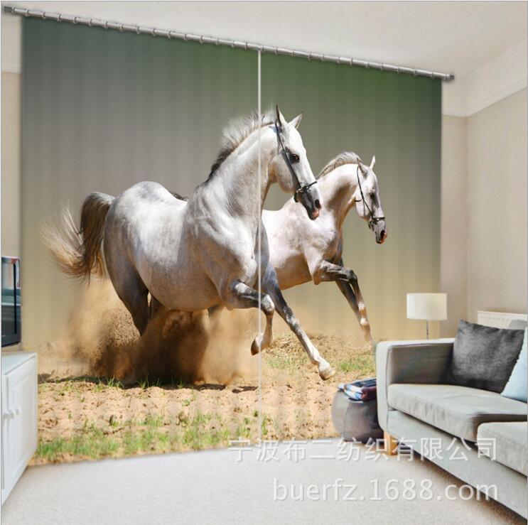 Rideau de fenêtre 3D impression de cheval Rideaux occultants de luxe pour salon bureau chambre Rideaux Cortinas Rideaux taille personnalisée