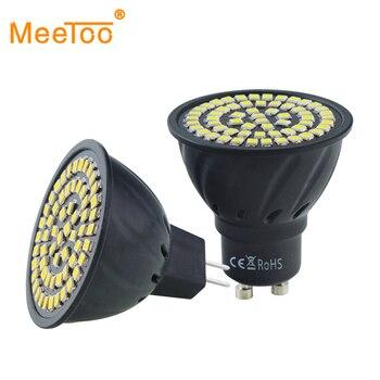 GU10 MR16 foco LED 2835SMD luz LED 220V 110V lámpara LED 70Leds 80Leds blanco cálido blanco frío LED iluminación sin parpadeo A + +