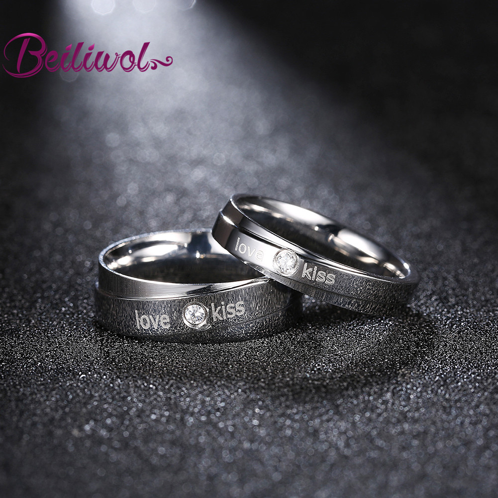 Jewelry Love Kiss Letters Stainless Steel Rings For Women Silver