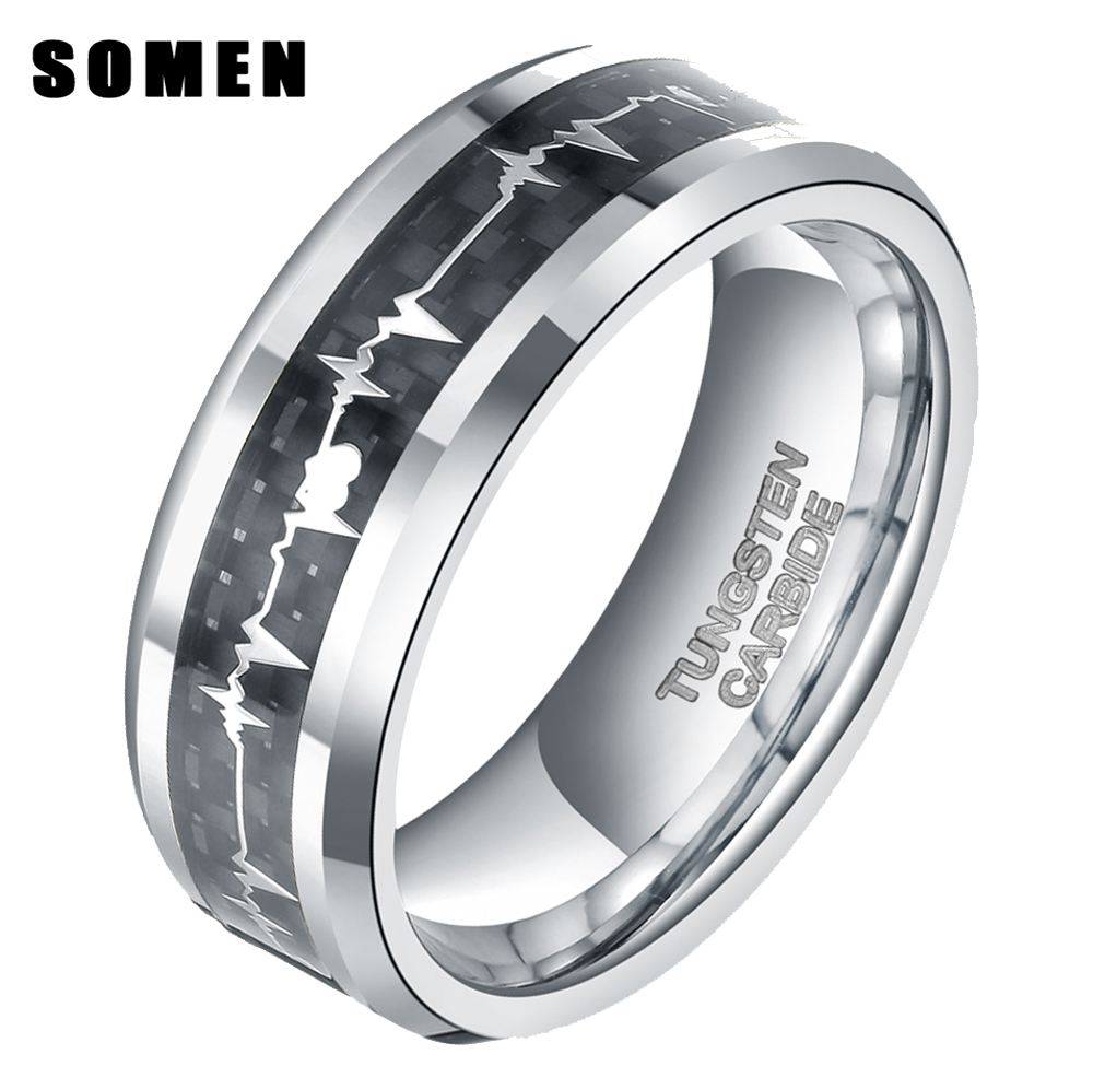 8mm Men's Tungsten Carbide Ring Carbon Fiber Inlay Heartbeat Cardiogram Men Rings  Couple Jewelry Wedding Band Bague Homme Bijoux