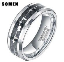 8 мм мужская tungsten carbide ring inlay углеродного волокна кардиограмма heartbeat мужчины кольца пара ювелирных изделий обручальное bague homme bijoux
