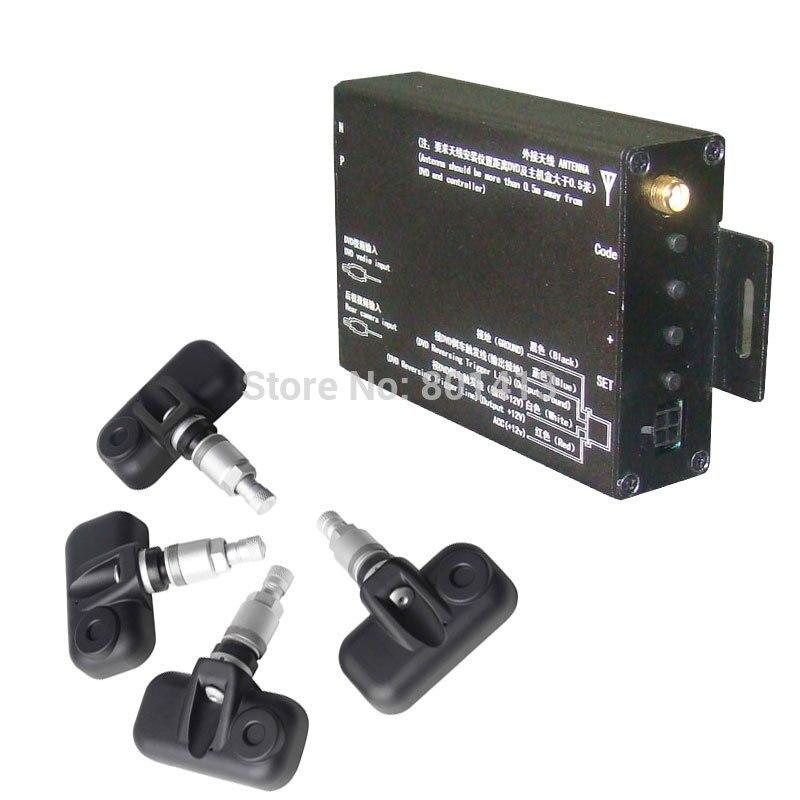 Système de surveillance de pression des pneus TPMS avec capteur de valve interne 4 pièces, compatible avec n'importe quel moniteur, GPS, DVD avec la sortie AV