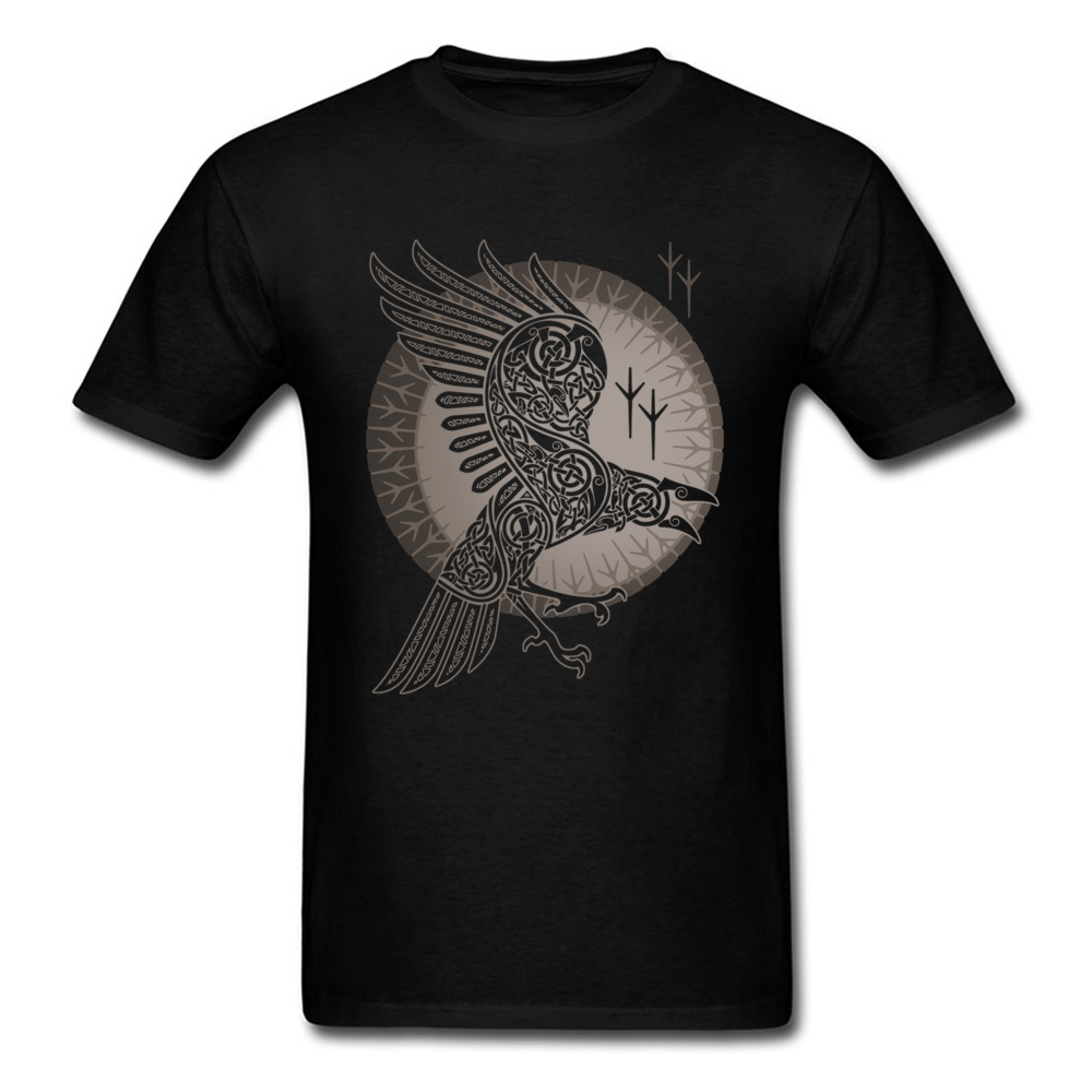 Norse Raven T-shirt Mystery Graphic T Shirt Game Of Thrones Viking Crow Clothes Men Tshirt Cotton Tops Black Tees