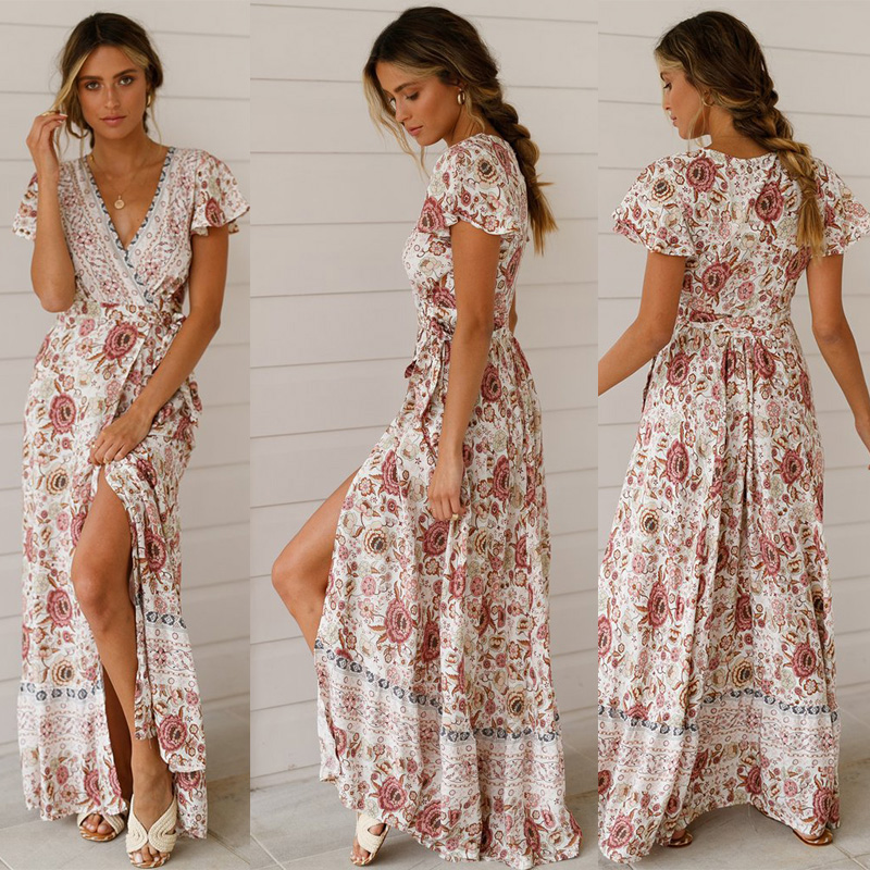 Vintage Floral Print Boho Dress For Women Naughty Long Beach Summer Dress Vestidos Short Sleeve Sash Belt Separation Retro Long in Dresses from Women 39 s Clothing