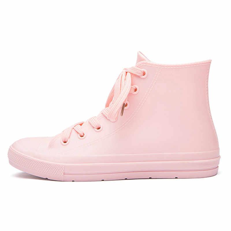 Kadın yağmur çizmeleri moda şeker renk su geçirmez ayak bileği yağmur çizmeleri pembe kadın rahat ayakkabılar botas mujer boyutu 35-41 g01w